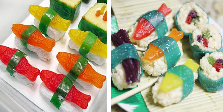 Si no queréis montar un buffet, podéis presentar una selección de candy sushi en bandejas para que los invitados vayan picando durante la fiesta.