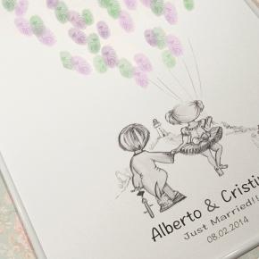 Árbol de huellas personalizado para Alberto yCristina