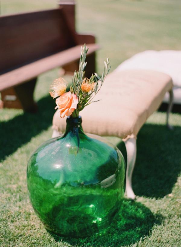 damajuana como decoracion de boda